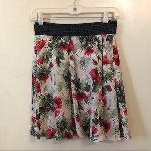 Elizabeth & James Silk Floral Skirt Leather Trim S